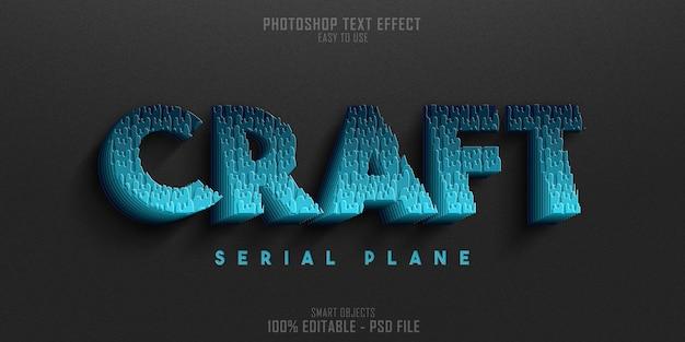 Modello di effetto stile testo 3d craft serial plane Psd Premium