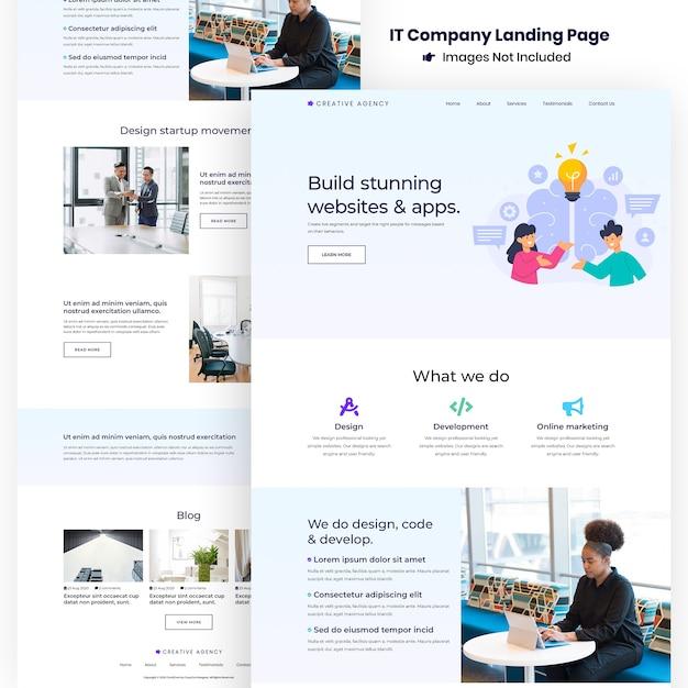 Pagina di destinazione per lo sviluppo del sito web e delle app dell'agenzia creativa Psd Premium