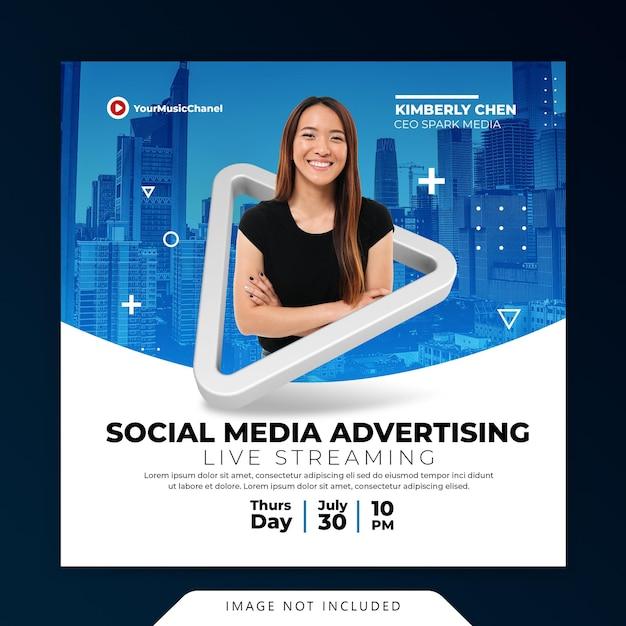 Concetto creativo workshop di live streaming post modello di promozione marketing sui social media Psd Premium