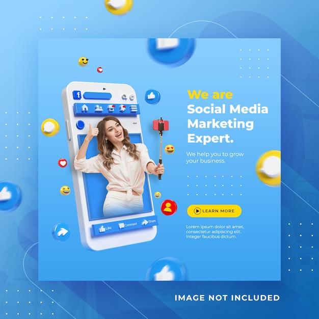 Post di facebook di social media di concetto creativo per modello di promozione del marketing digitale Psd Premium
