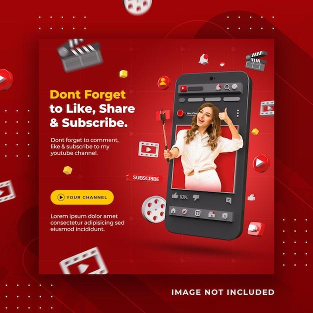Promozione del canale youtube dei social media di concetto creativo per il modello di post di instagram Psd Premium