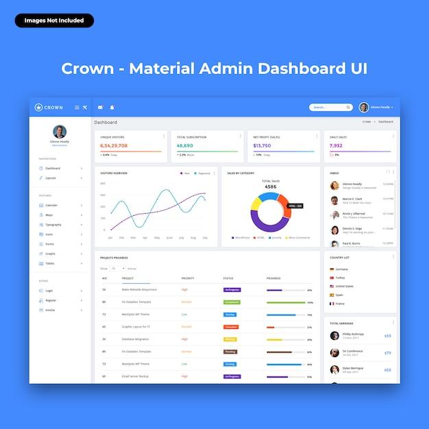 Dashboard di amministrazione crown-material Psd Premium