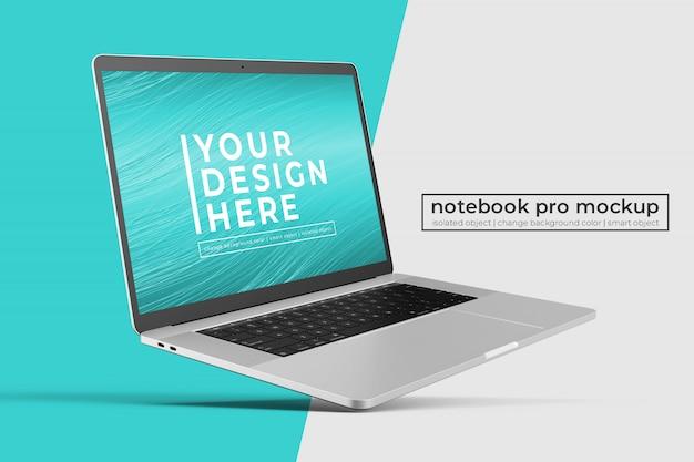Notebook portatile premium realistico personalizzabile manichino in posizione inclinata a sinistra Psd Premium