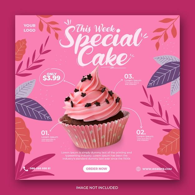 Modello di banner post instagram social media promozione menu torta carina Psd Premium