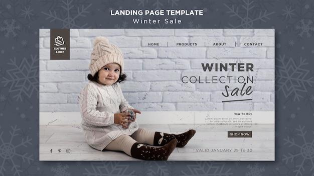 Modello di pagina di destinazione di vendita collezione invernale bambino carino Psd Premium