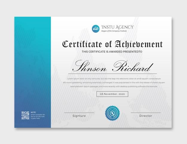 Modello di certificato di conseguimento ciano Psd Premium