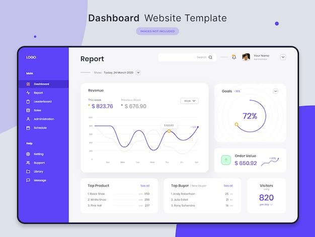 Modello di sito web del dashboard Psd Premium