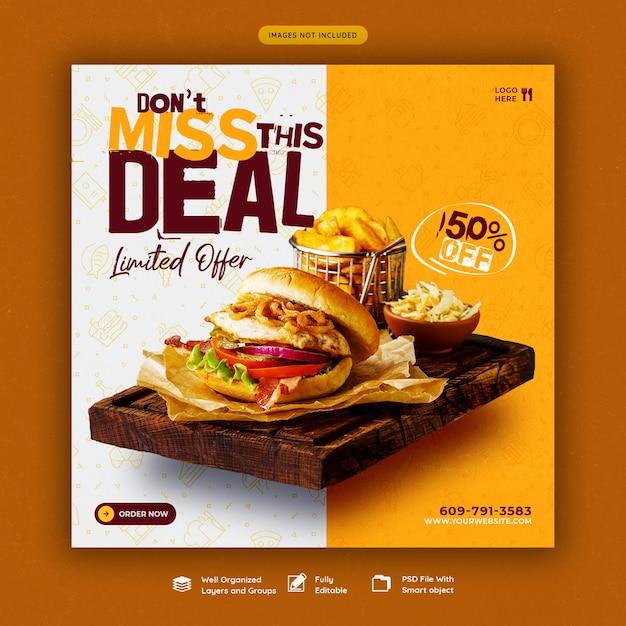 Hamburger delizioso e modello di banner di social media menu cibo Psd Premium