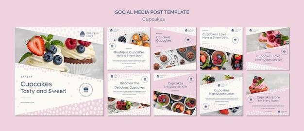 Delicious cupcakes post sui social media Psd Premium