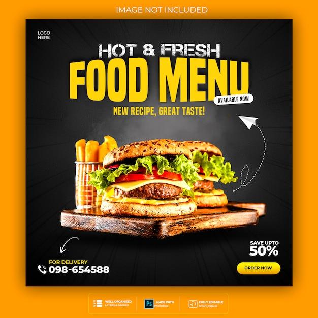 Modello di post social media cibo delizioso premium psd Psd Premium