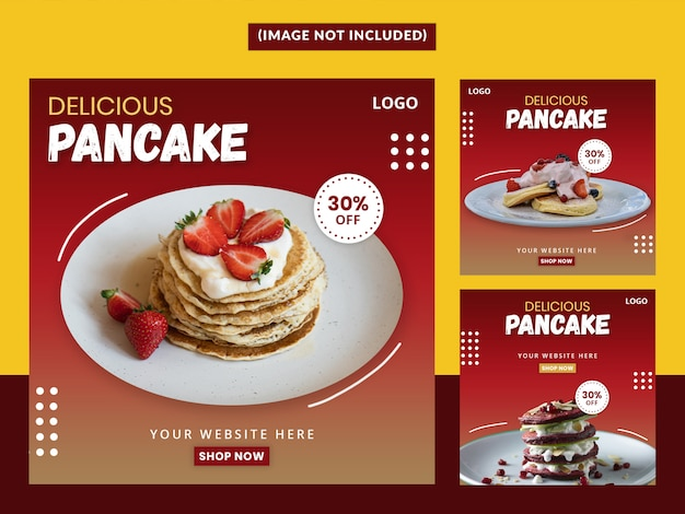Premium pancake social media post set template premium Psd Premium