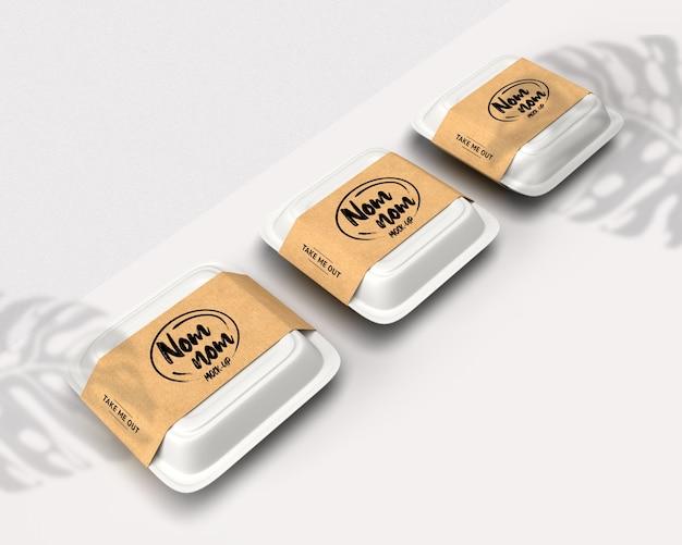 Mockup di scatola bianca di consegna cibo isolato Psd Premium