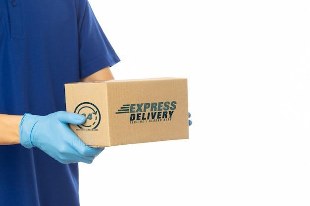Modello delle scatole di cartone della tenuta della mano del fattorino Psd Premium