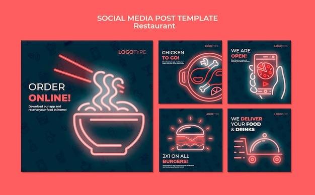 Modello di post sui social media del ristorante di consegna Psd Premium