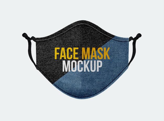 Denim-maschera facciale-mockup-in-front-view Psd Premium