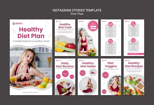 Modello di storie di instagram di piano di dieta Psd Premium