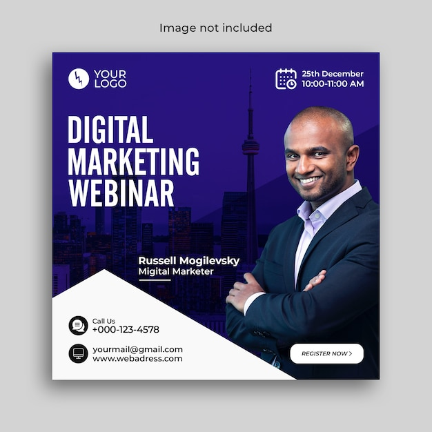Banner webinar online di marketing digitale o post sui social media aziendali Psd Premium