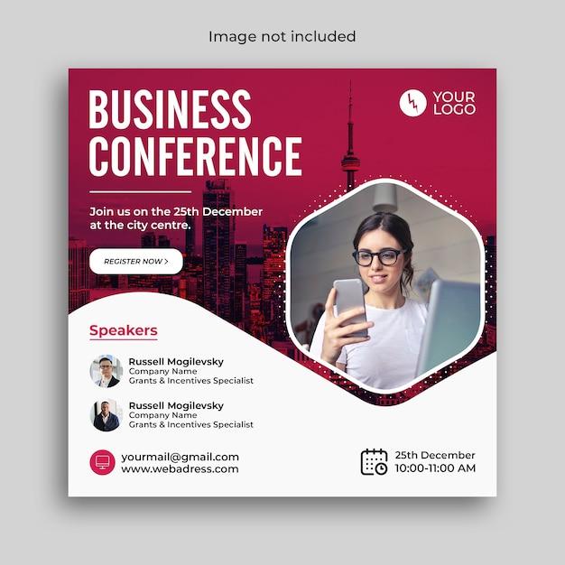 Banner di conferenza webinar aziendale di marketing digitale o post sui social media aziendali Psd Premium