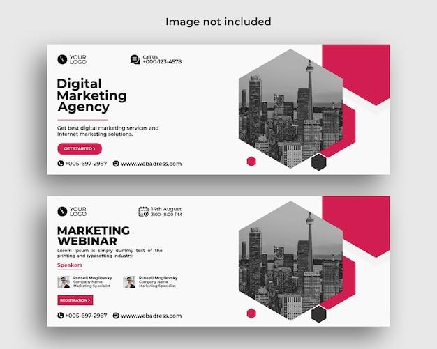 Banner di copertina di facebook della conferenza webinar aziendale di marketing digitale Psd Premium