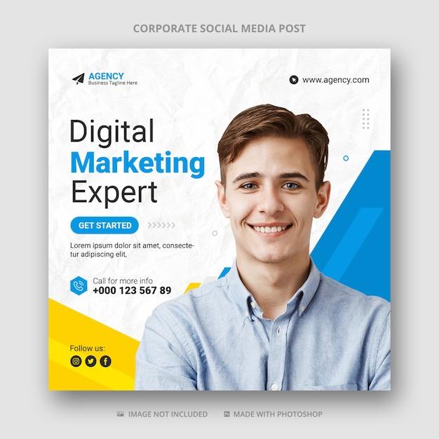 Modello di banner post social media marketing digitale Psd Premium