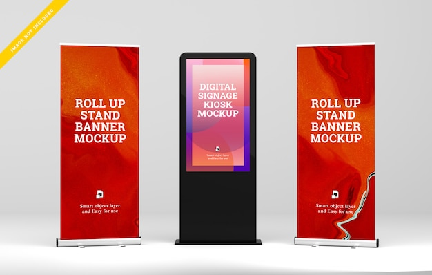 Display digitale per segnaletica digitale con roll up mockup. Psd Premium