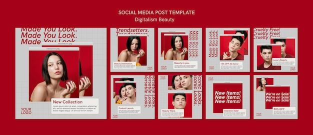 Modello di post sui social media di bellezza del digitalismo Psd Premium