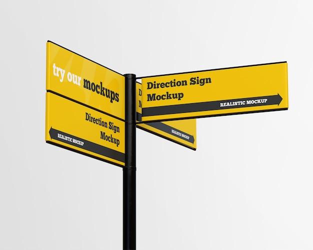 Mockup di segno di direzione isolato Psd Premium