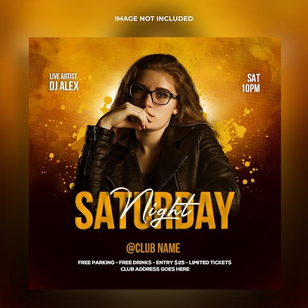 Banner web dj night party e modello di post sui social media Psd Premium