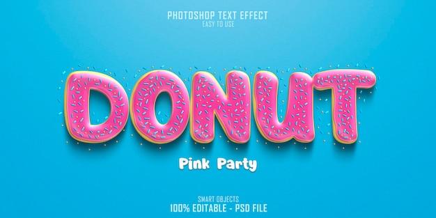 Modello di effetto stile testo ciambella pink party Psd Premium