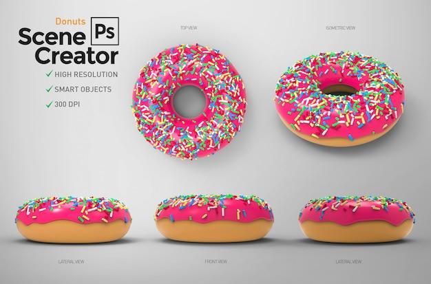 Donuts. creatore di scene. Psd Premium