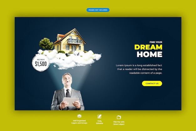 Casa da sogno modello di banner web in vendita Psd Premium