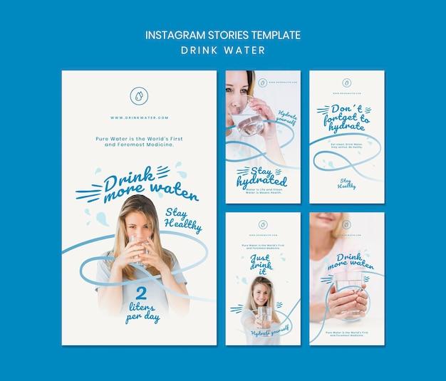 Bere acqua concetto instagram storie modello Psd Premium