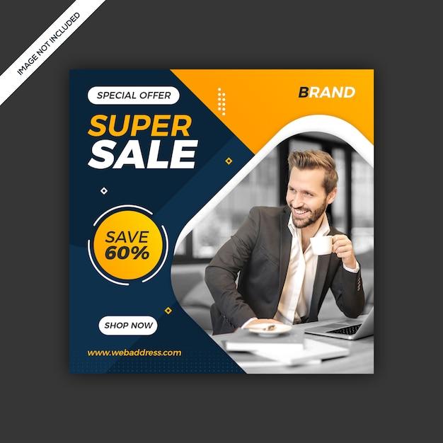 Banner post vendita moderna instagram social media dinamico Psd Premium