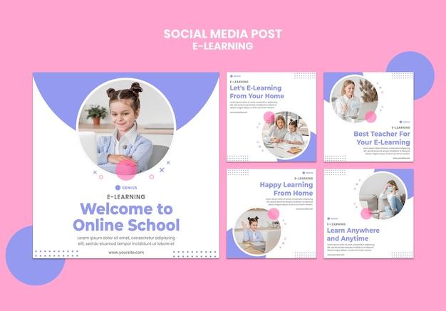 Modello di post sui social media per annunci di e-learning Psd Premium