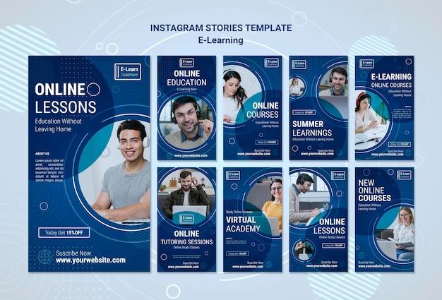 Modello di storie di instagram di concetto di e-learning Psd Premium
