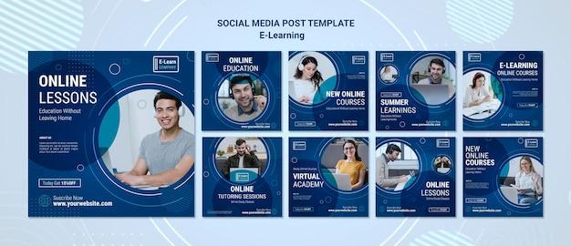 Modello di post sui social media di concetto di e-learning Psd Premium