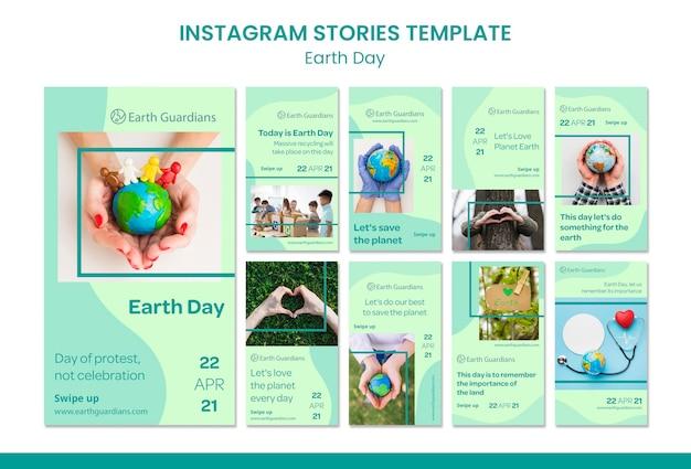 Modello di storie di instagram di concetto di giornata per la terra Psd Premium