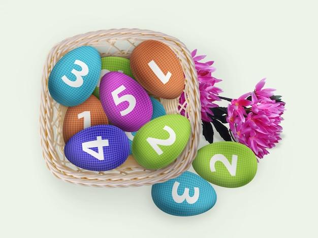Modello di merce nel carrello delle uova di pasqua con i fiori Psd Premium