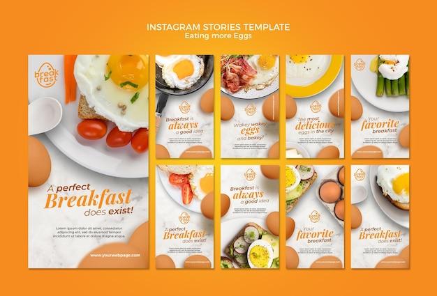 Mangiare più storie di instagram di uova Psd Premium