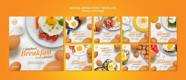 Mangiare più uova post sui social media Psd Premium