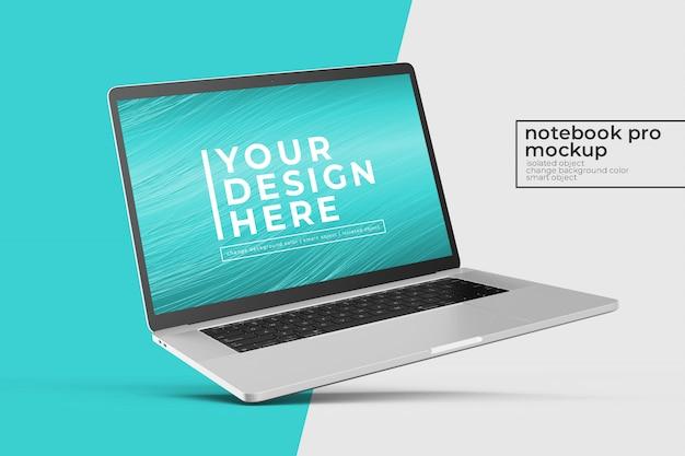 Design modificabile realistico premium premium laptop psd mockup design in posizione inclinata a sinistra Psd Premium