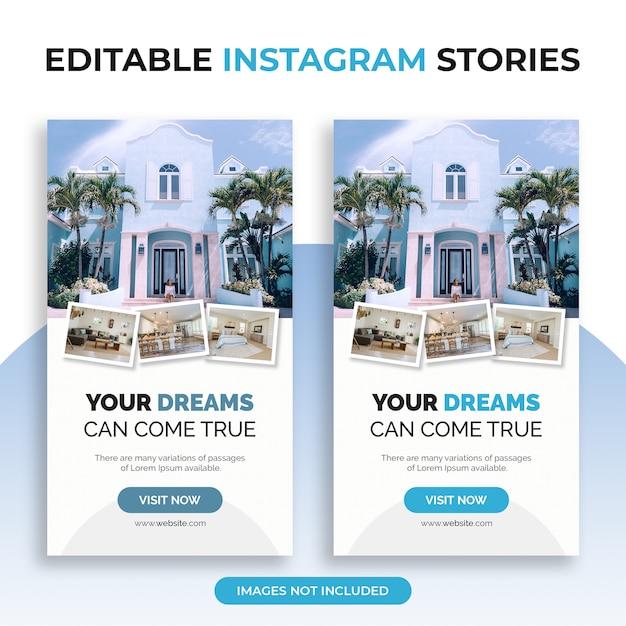 Modelli di storie di instagram modificabili con collage di foto Psd Premium