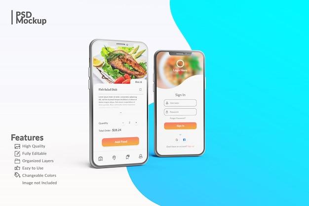 Modificabili smartphone modificabili per visualizzare il modello di concetto di app di cibo Psd Premium