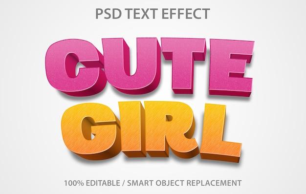 Modello di ragazza carina effetto testo modificabile Psd Premium