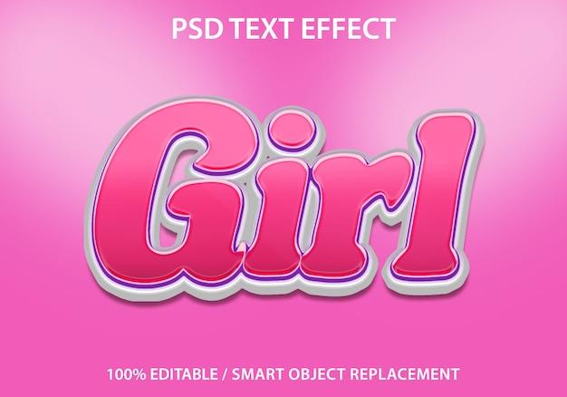 Effetto di testo modificabile pink girl premium Psd Premium