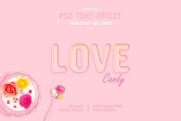 Modello di effetto testo modificabile trasparente amore caramella Psd Premium