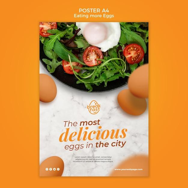 Modello di poster di uova e verdure Psd Premium