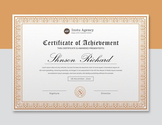 Elegante modello di certificato Psd Premium