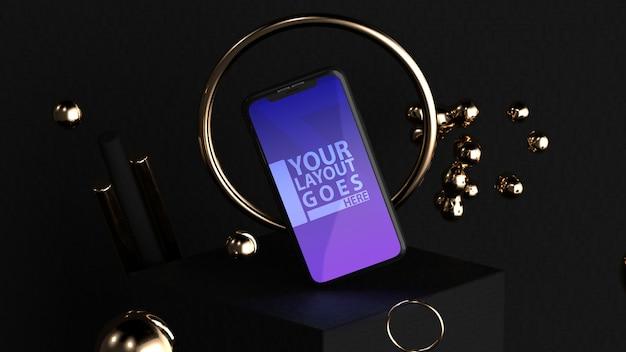 Elegante mockup per smartphone in oro e nero Psd Premium