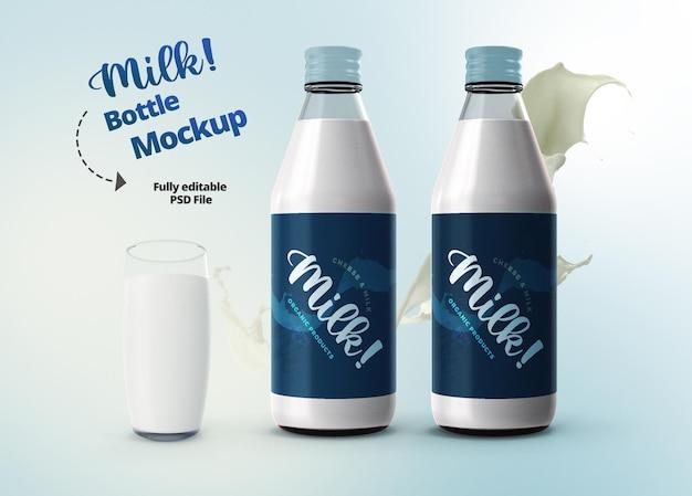 Eleganti bottiglie di latte e vetro modello mockup 3d realistico Psd Premium